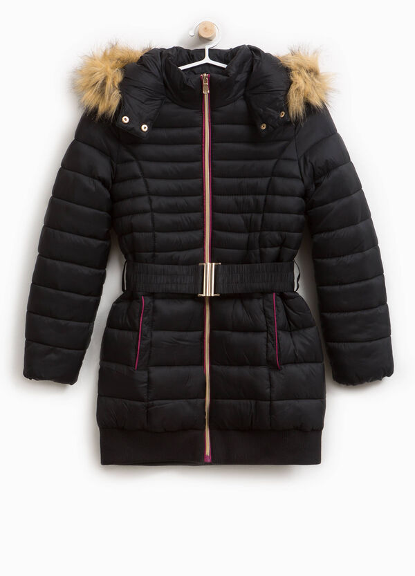 Long down jacket with hood and edging