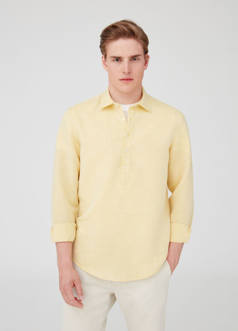 Cotton and linen shirt with collar and opening