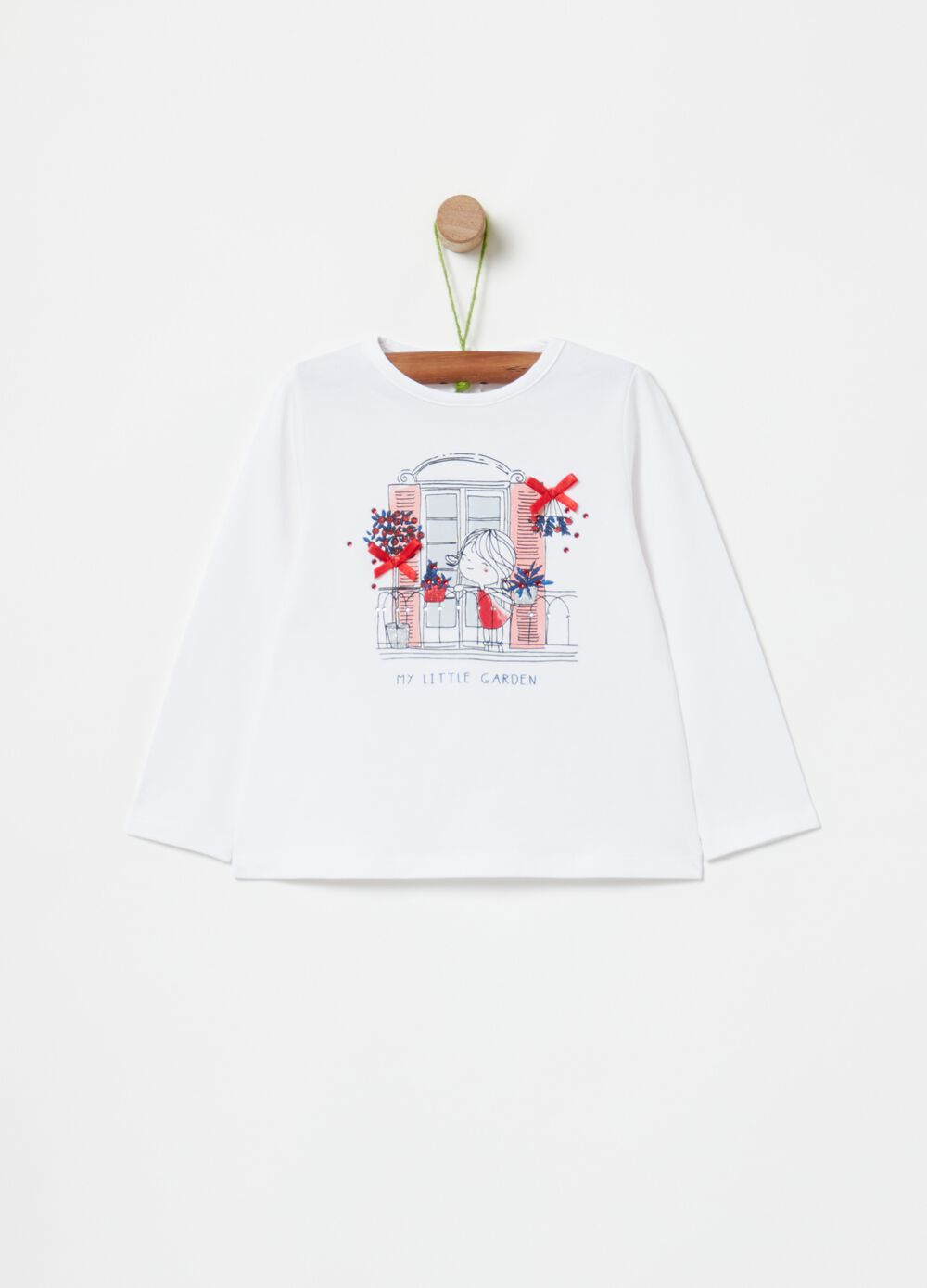 T-shirt with diamantés print and bows