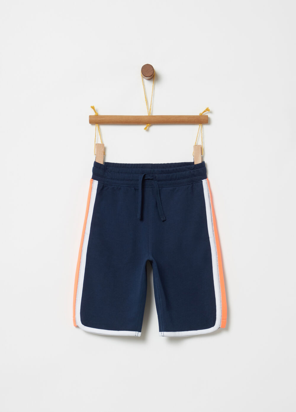 French terry shorts with drawstring and inserts
