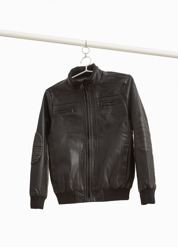 Leather look jacket with stitching