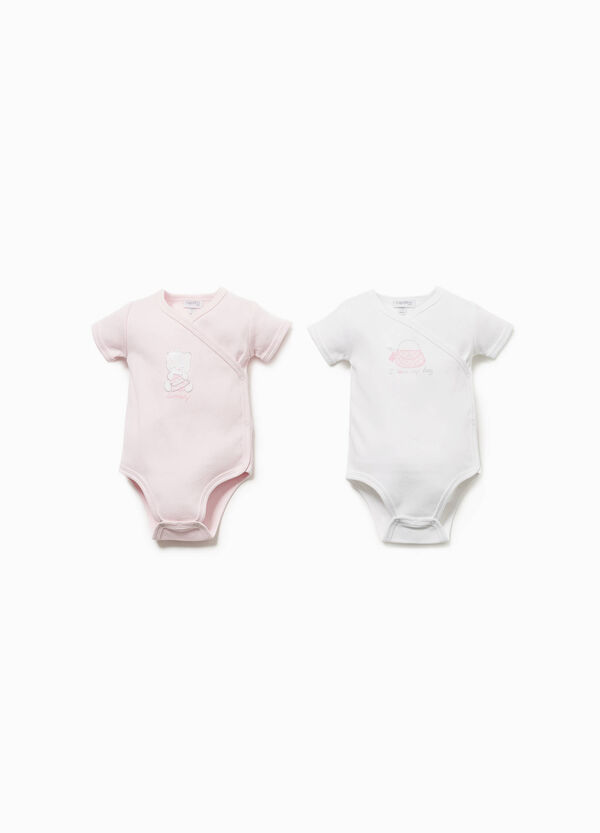 Two-pack bodysuits with bag print
