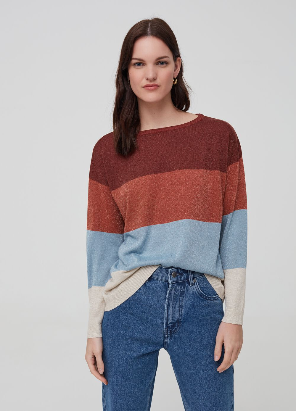 Knitted top with striped lurex