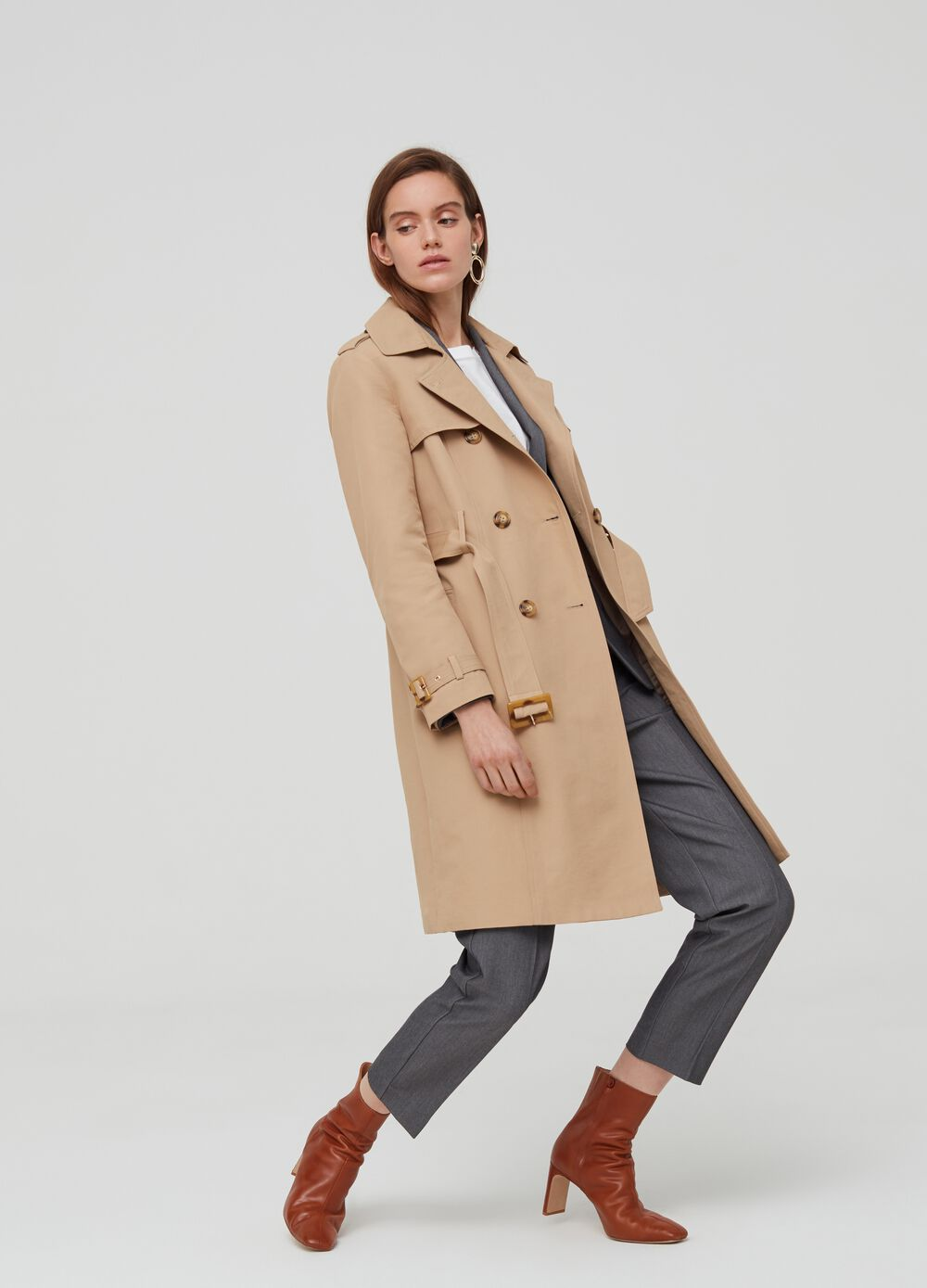 Cotton blend double-breasted trench coat