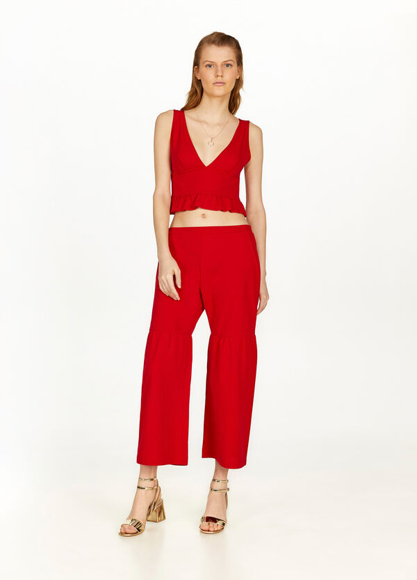 Stretch crop palazzo trousers