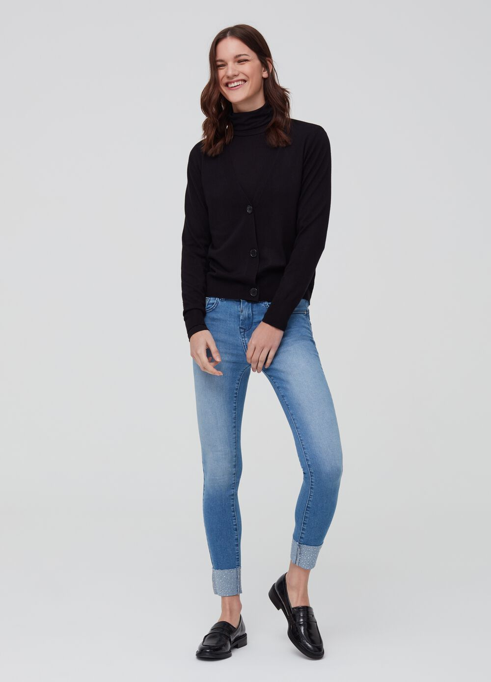 Push-up stretch jeans with five pockets