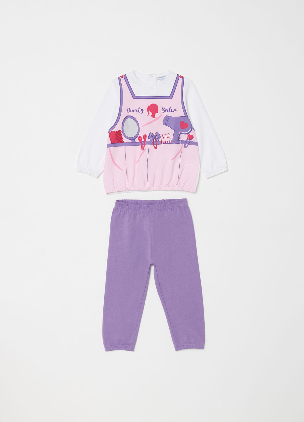 Full length pyjamas in 100% cotton with collar