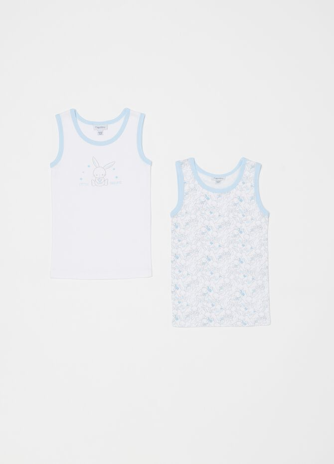 Set of two biocotton vests with rabbits