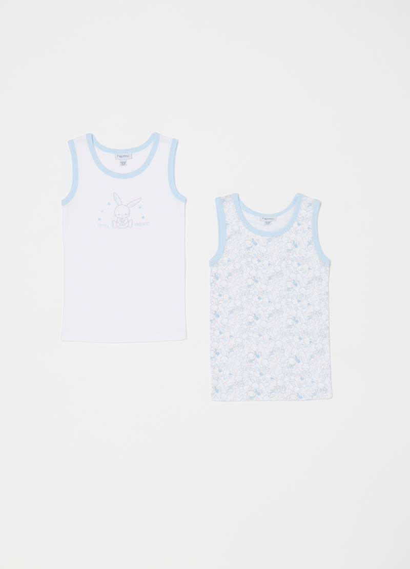 Set of two biocotton vests with rabbits image number null