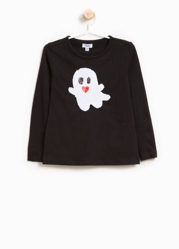 Stretch cotton T-shirt with sequins and ghost