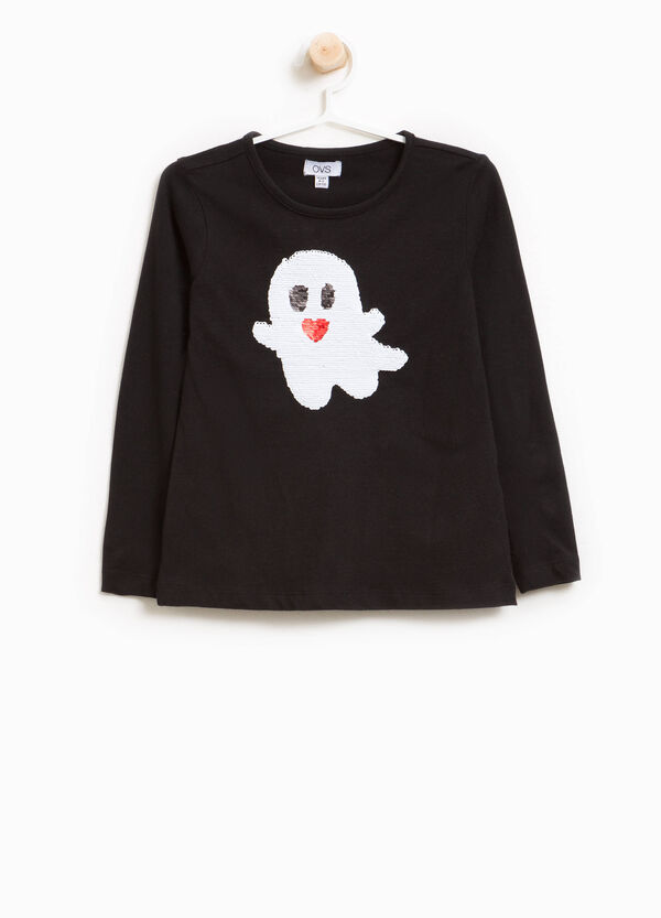 Stretch cotton T-shirt with sequins and ghost | OVS