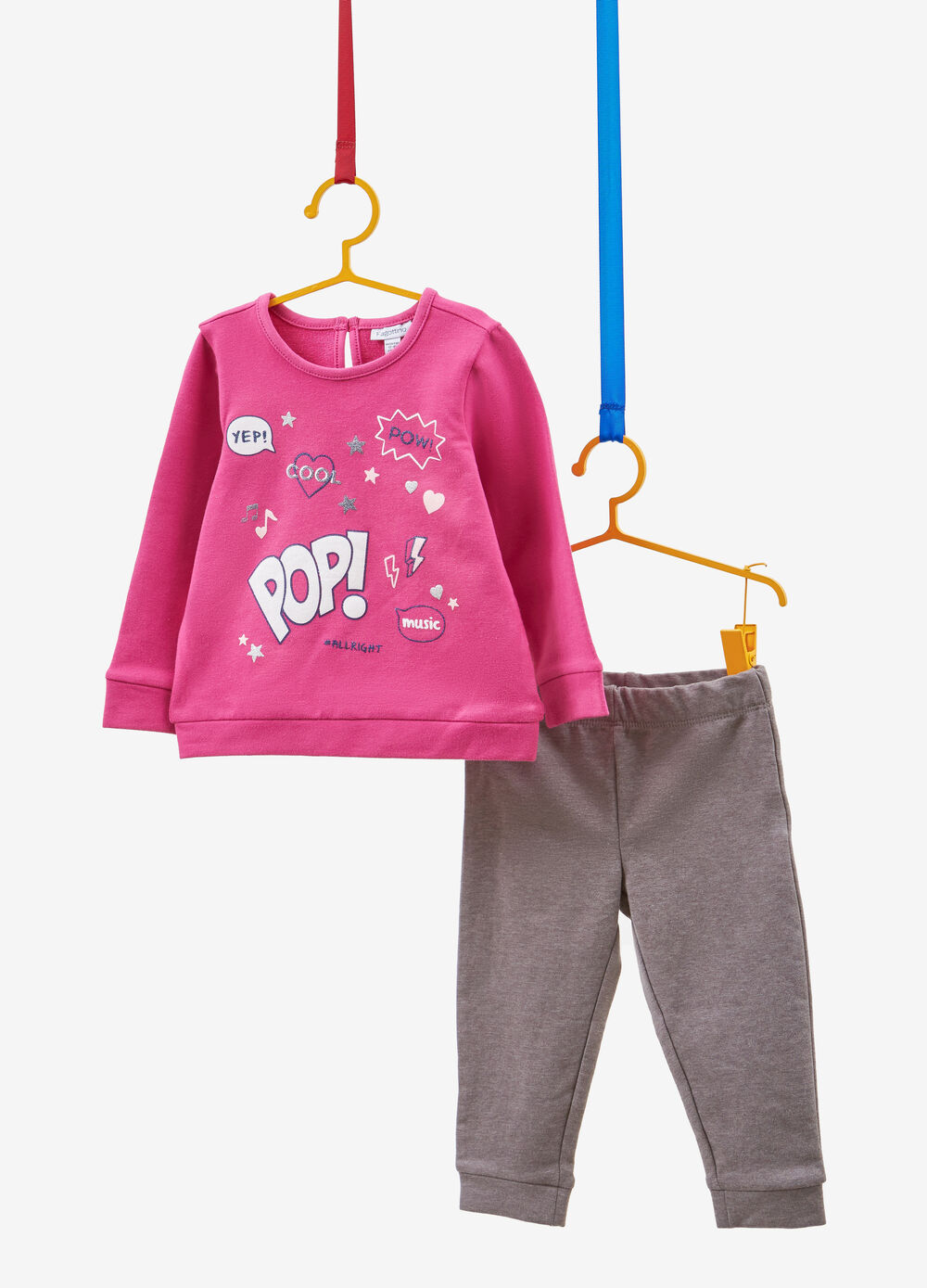 Stretch cotton tracksuit with glitter print