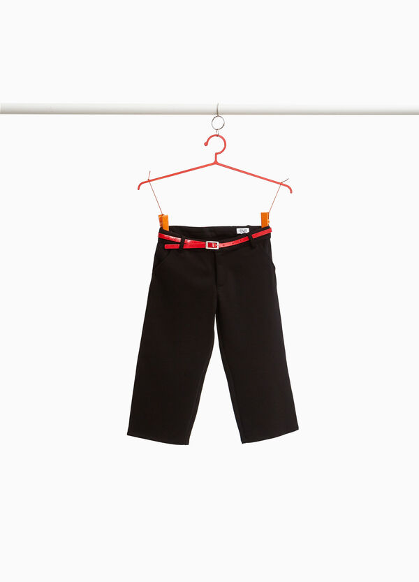 Viscose blend trousers with belt