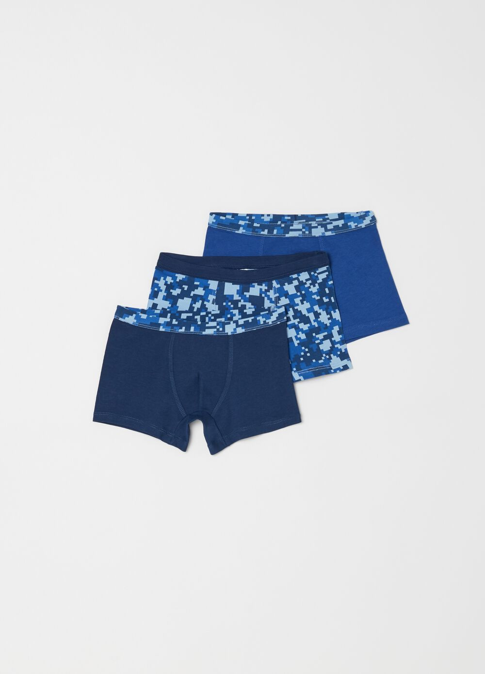 Three-pack stretch biocotton boxer shorts with pattern