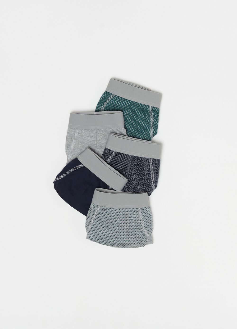 Five-pack 100% organic cotton briefs with pattern