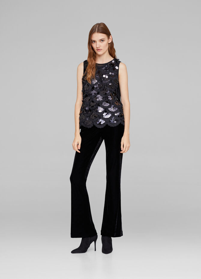 Viscose blend stretch top with sequins