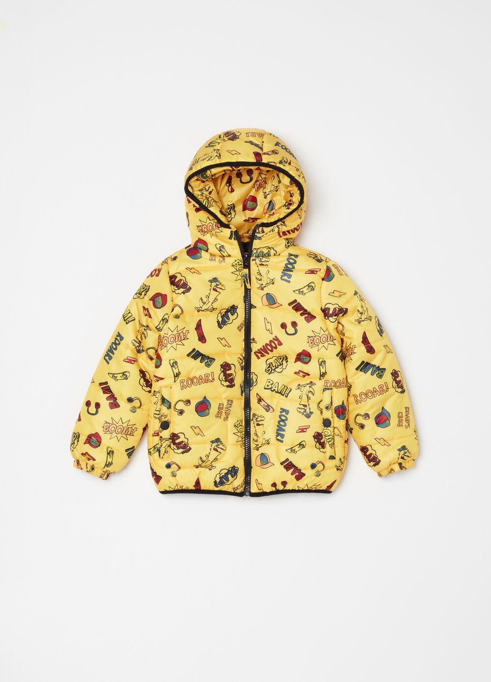 Quilted bomber jacket with hood and print