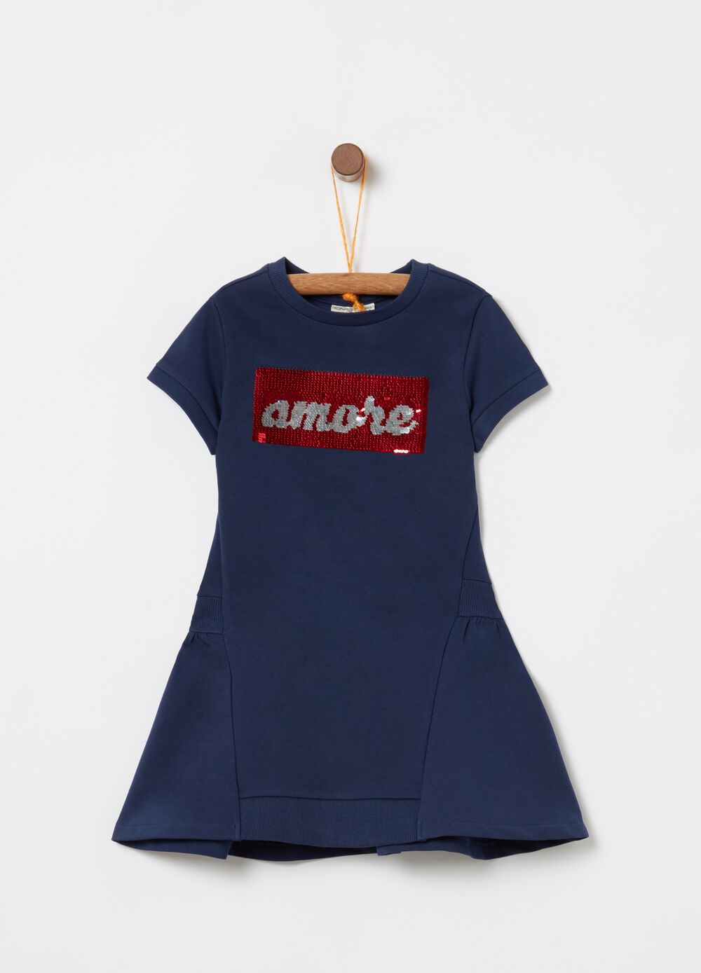 Dress in stretch biocotton with sequins and print