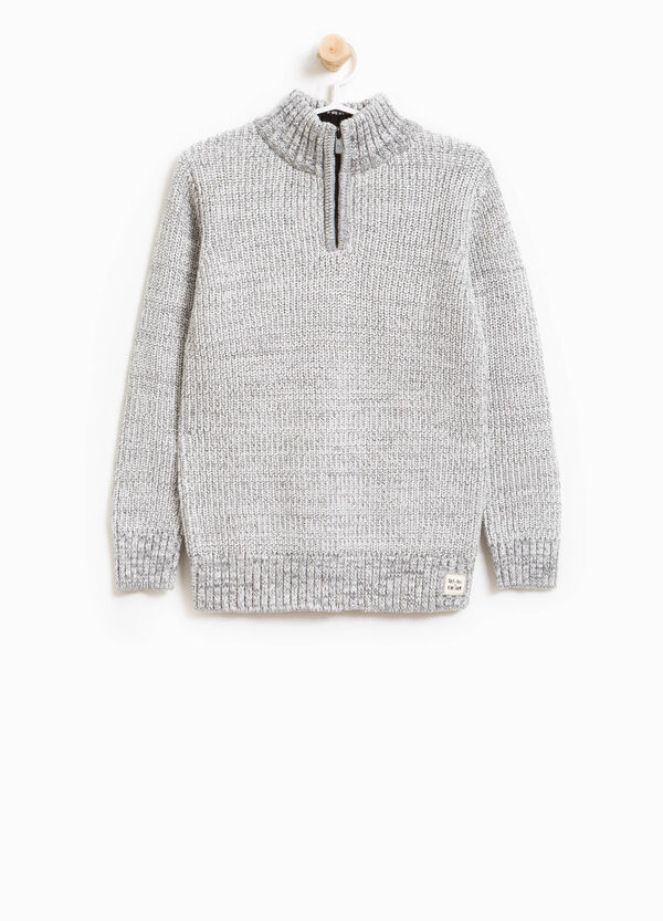 100% cotton knitted pullover with zip | OVS