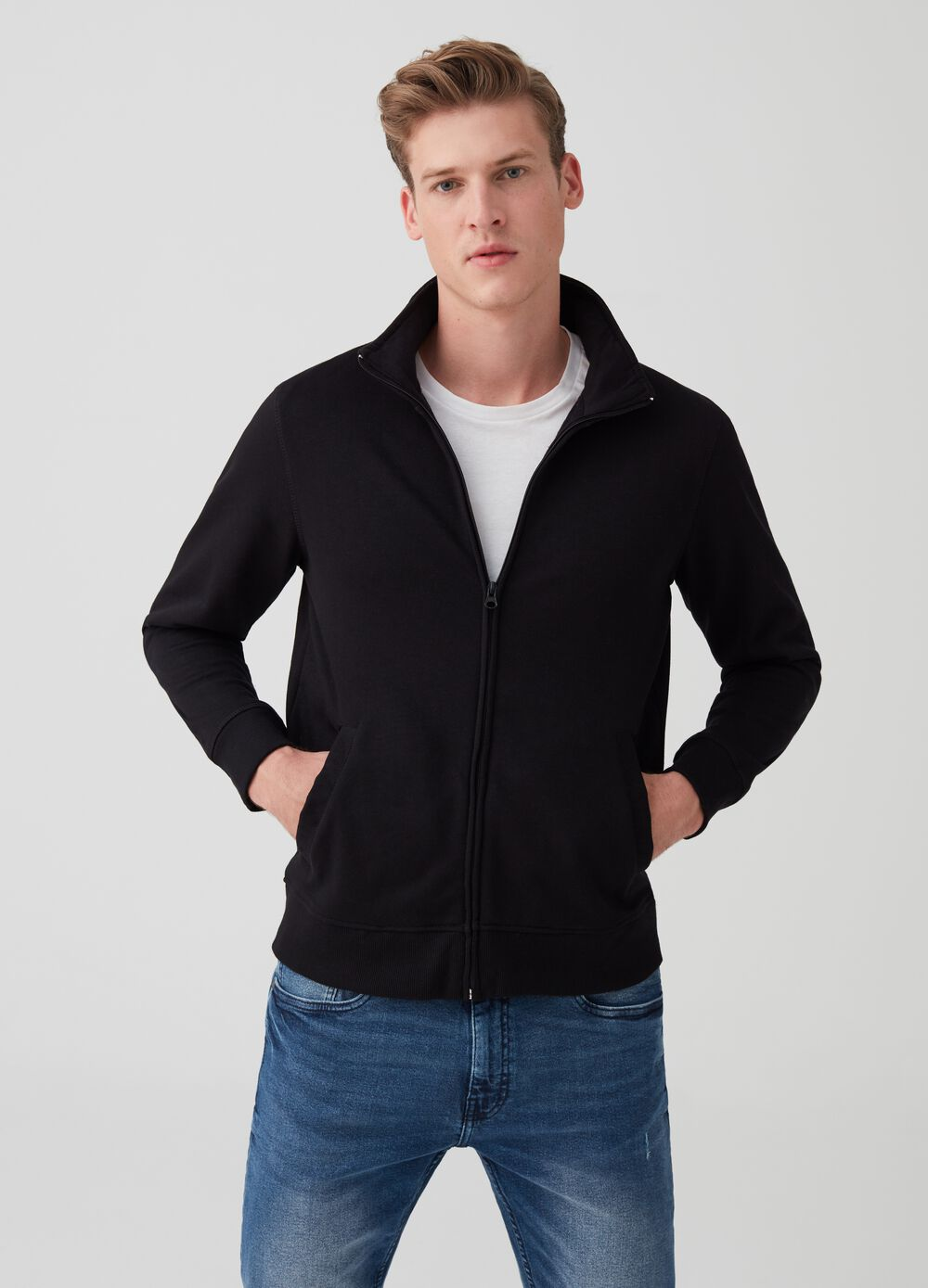 Sweatshirt with high neck and full-length zip