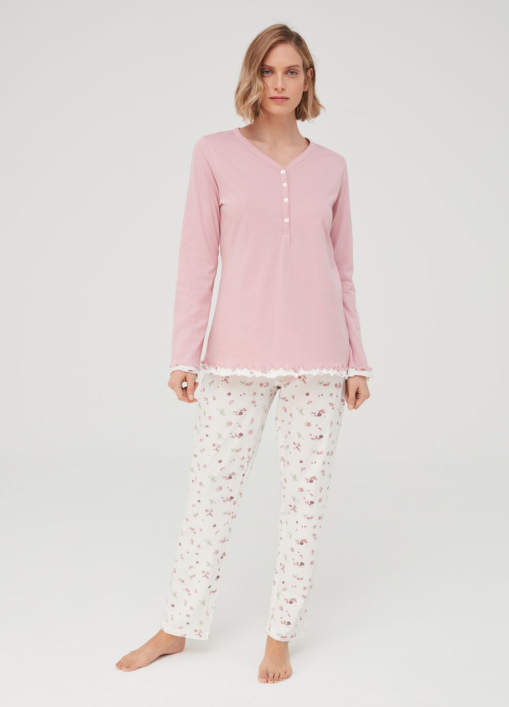 Floral pyjamas in 100% organic cotton