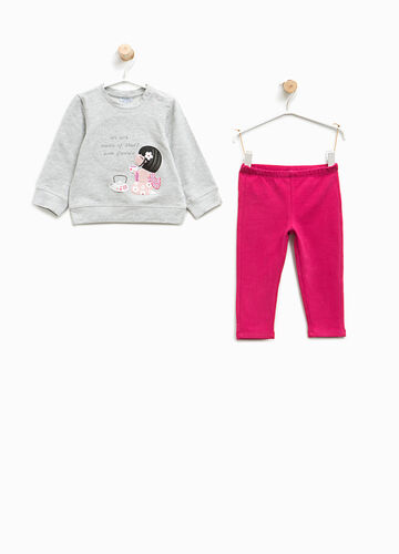 Stretch cotton tracksuit with print