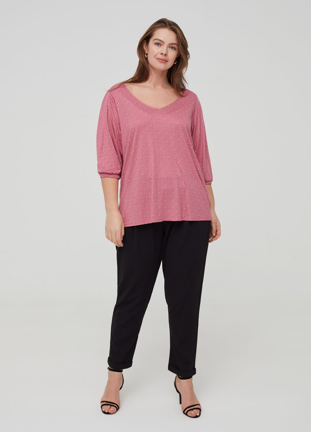 Curvy T-shirt with print in 100% viscose