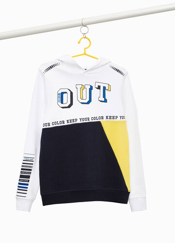 100% cotton two-tone sweatshirt.
