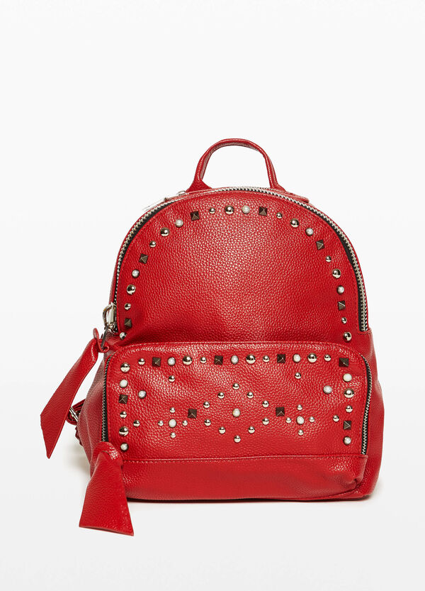 Backpack with studs and pearls