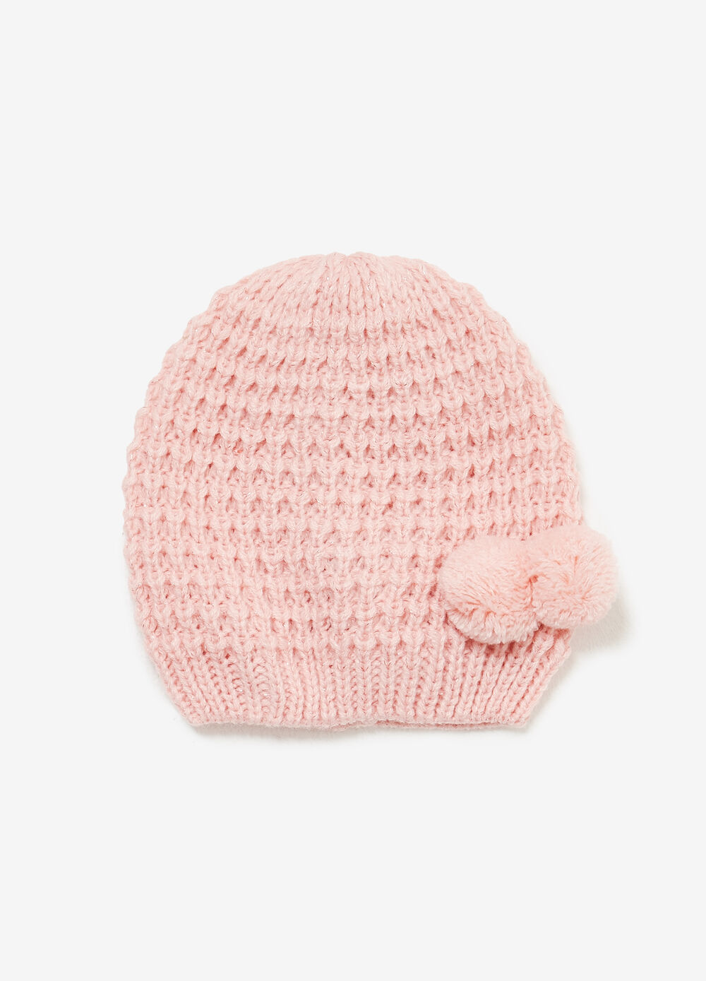 Beanie cap with glitter and pompom