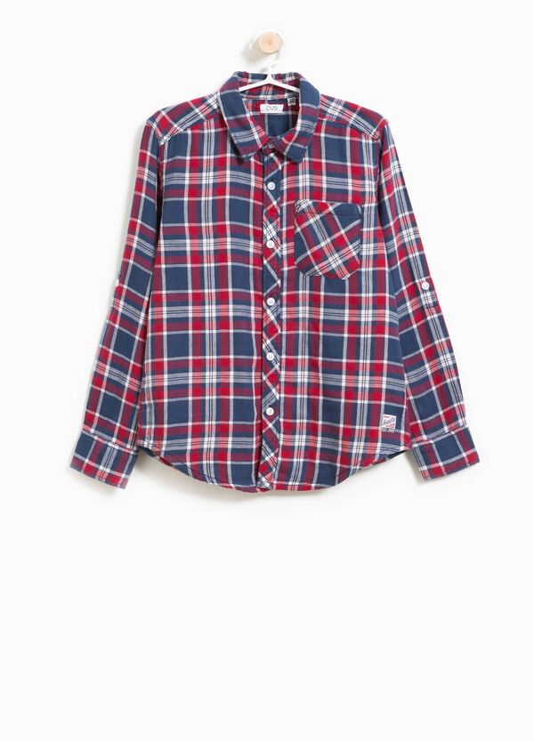 Tartan flannel shirt in 100% cotton. | OVS