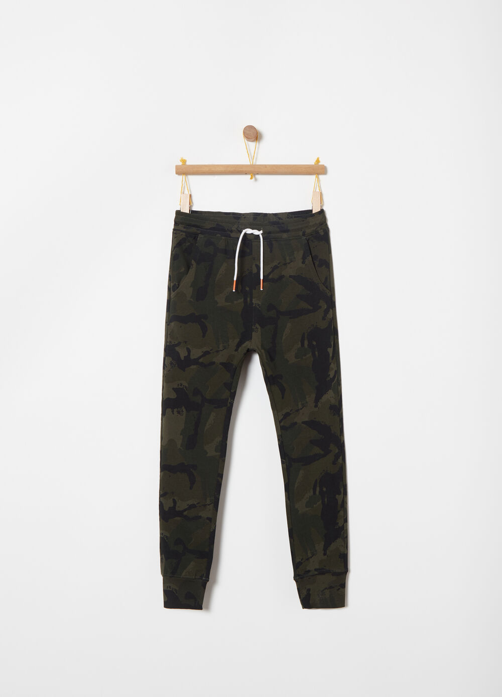 French Terry slim-fit camouflage trousers