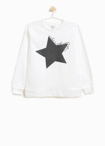 Sweatshirt in 100% cotton with glitter print