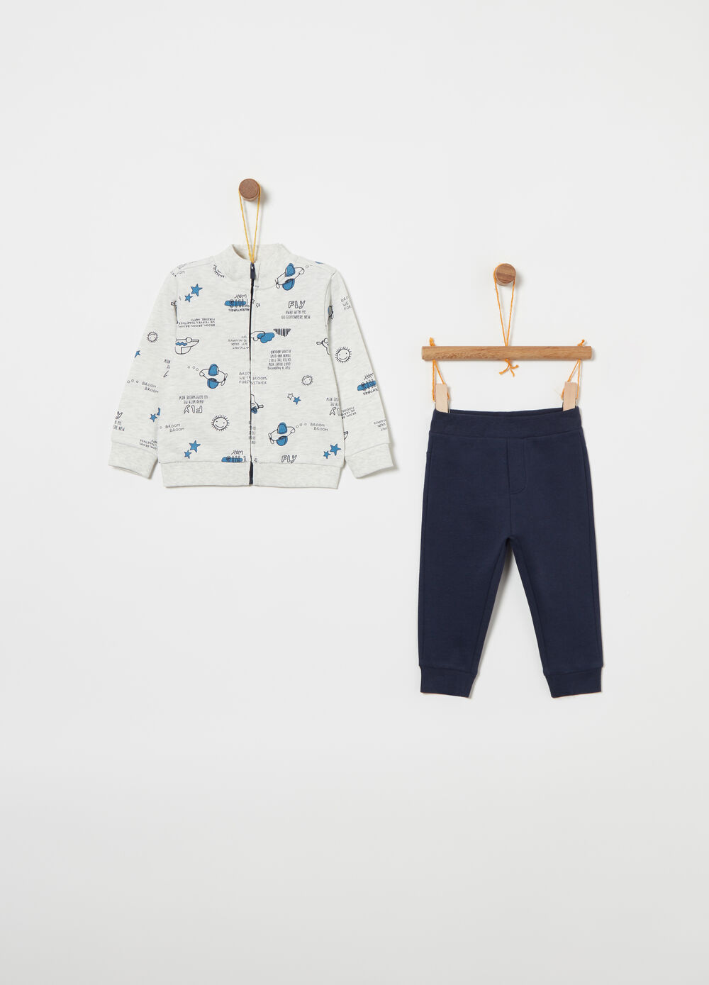 100% cotton jogging set with pattern
