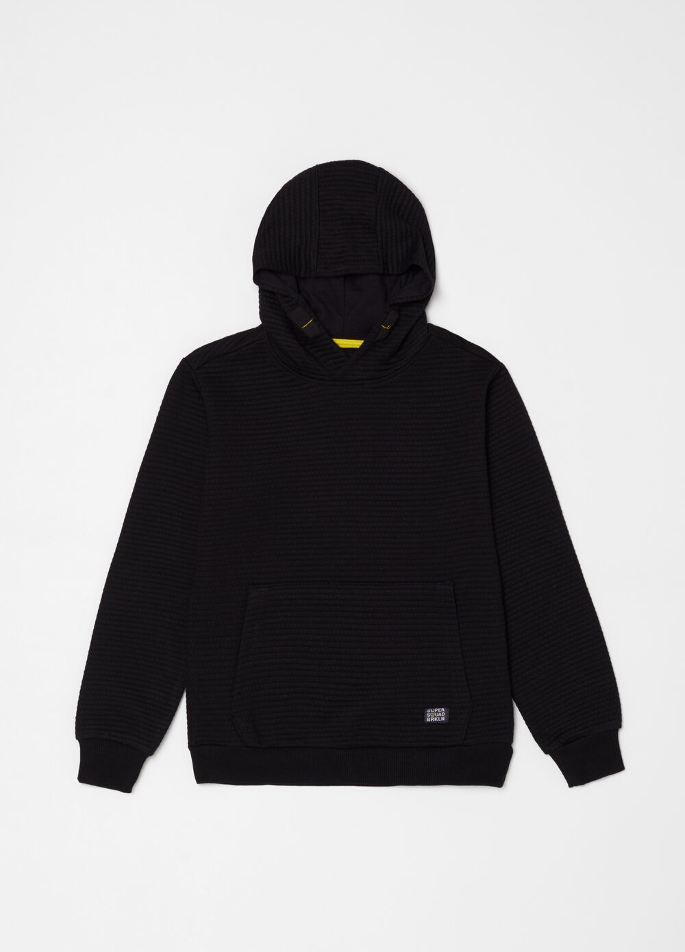 Quilted sweatshirt with hood and pocket