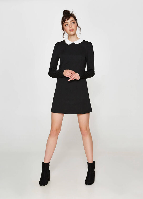 Stretch dress with striped weave and collar | OVS