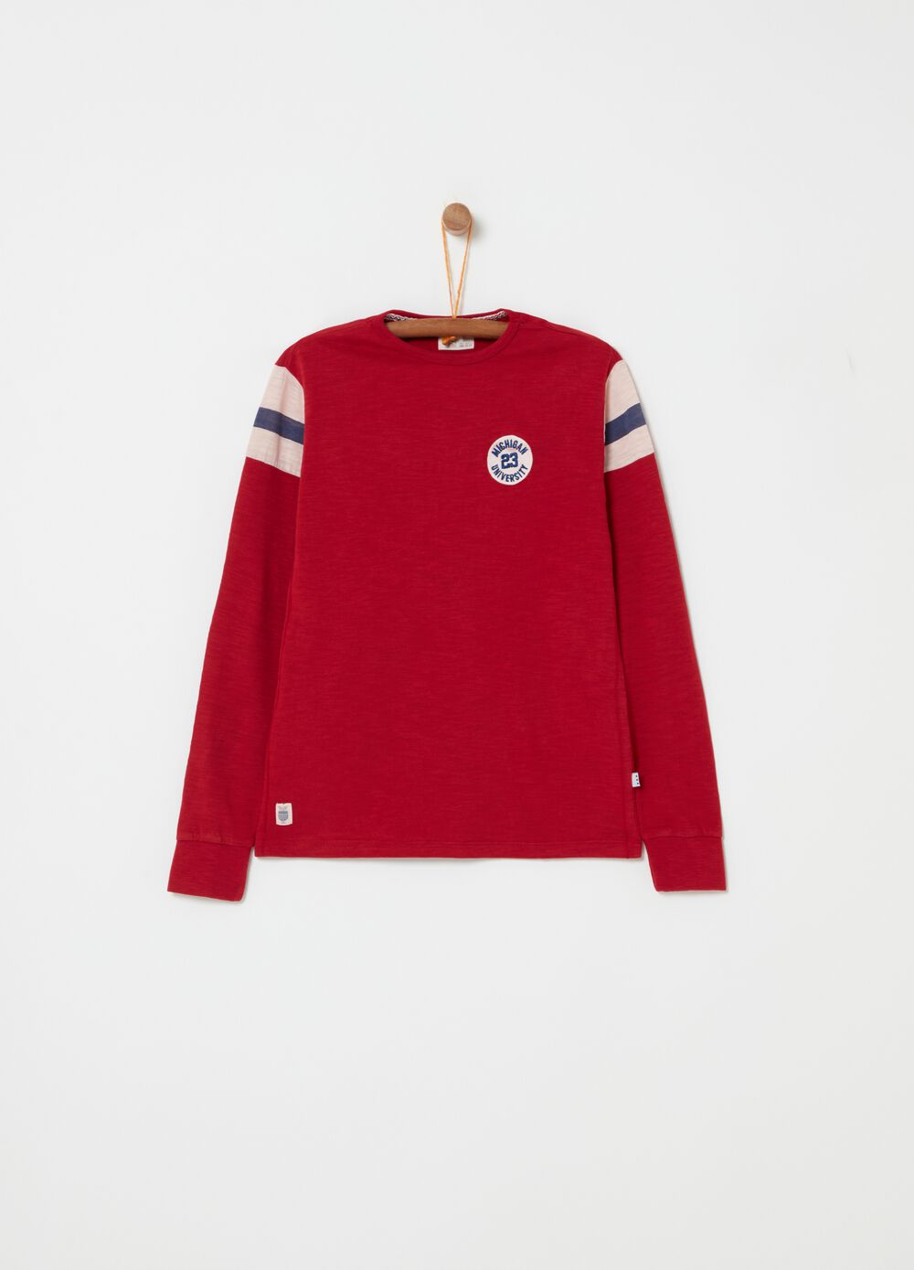 T-shirt in slub jersey with embroidery