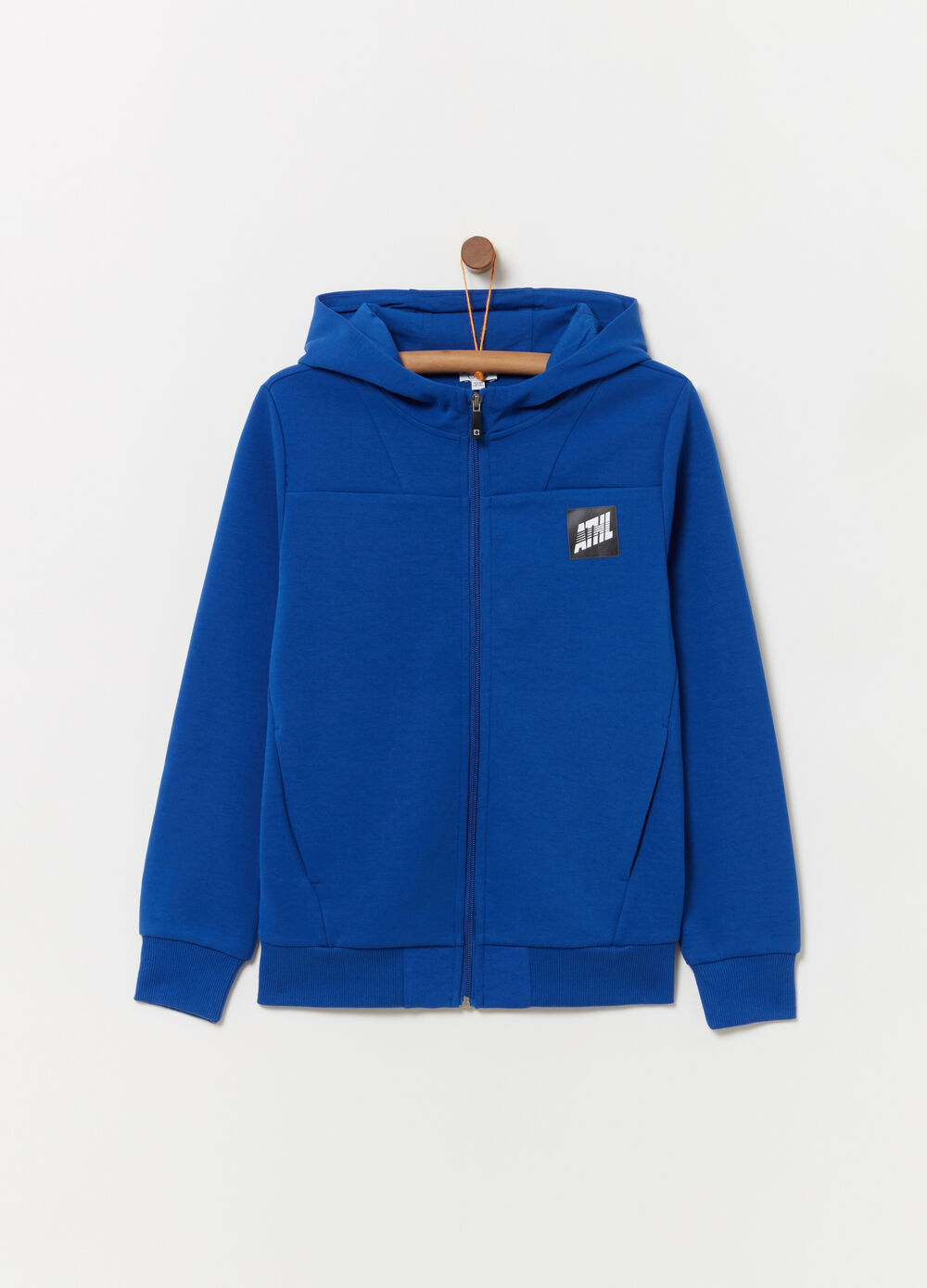 Interlock sweatshirt with hood and print