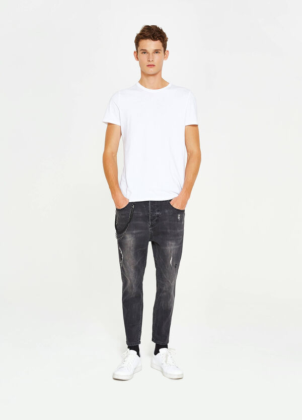 Used-effect stretch jeans with chain | OVS