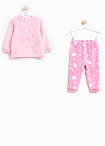 Pyjamas with teddy bear embroidery and sky pattern