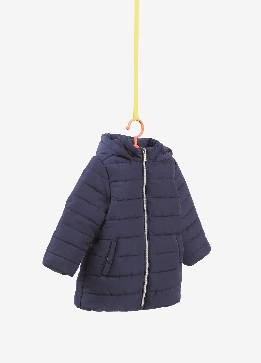 Long padded jacket with hood