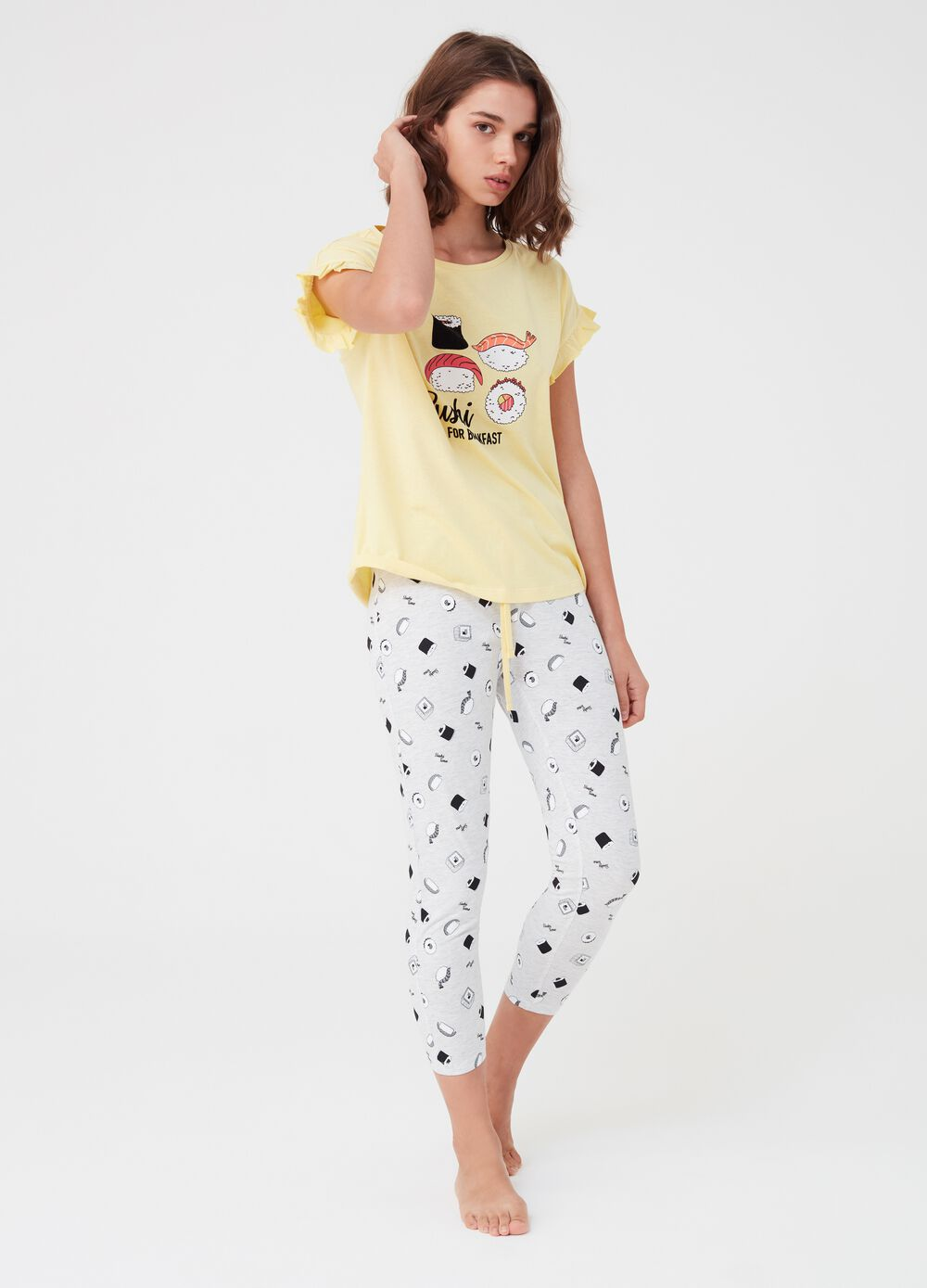 T-shirt and trousers pyjamas with sushi print
