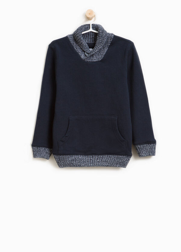 100% cotton knitted pullover with high neck | OVS