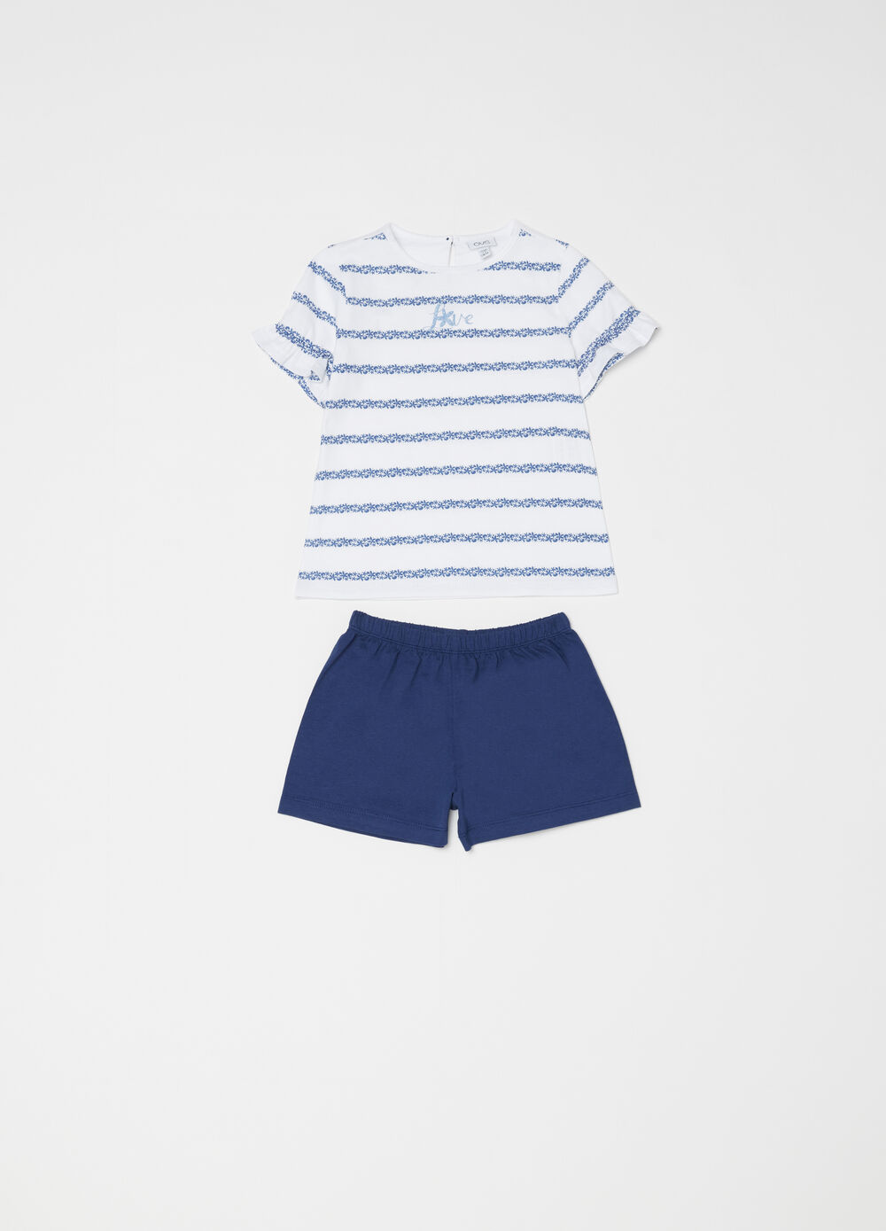 Pyjamas with flounced and striped T-shirt and shorts