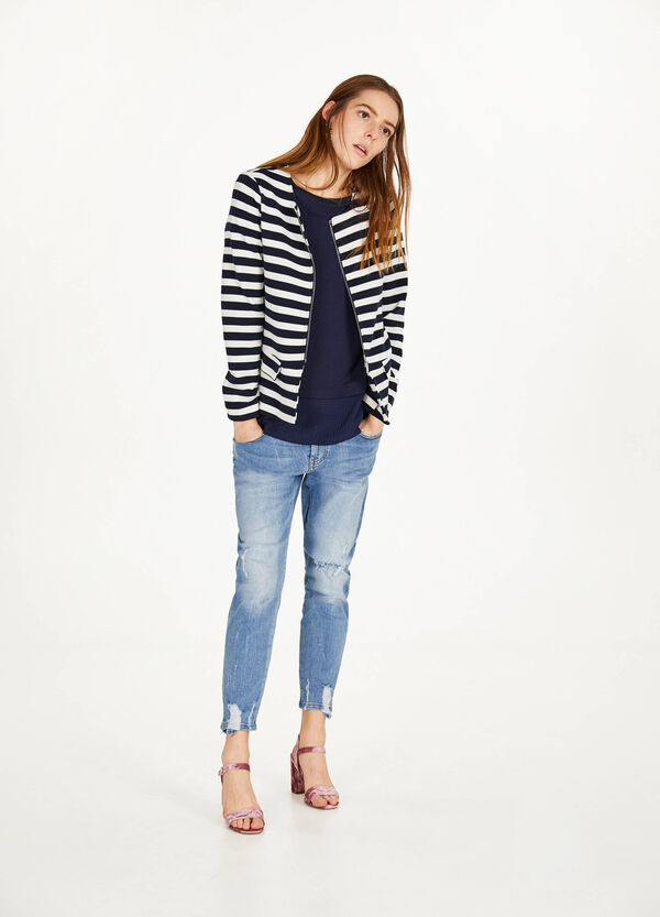Stretch striped blazer with zip