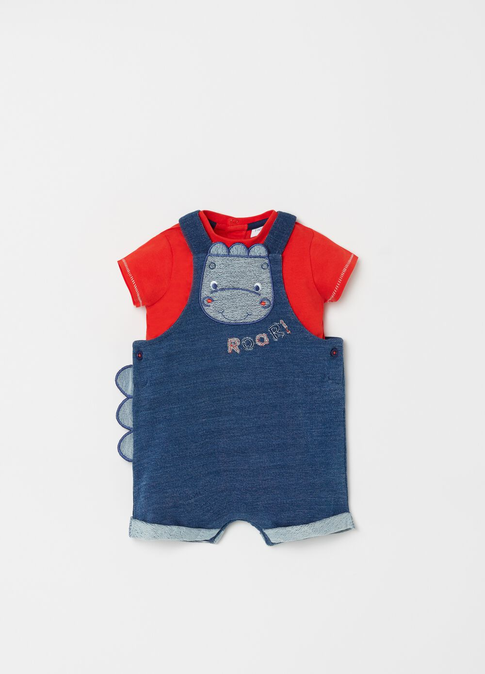 Onesie and T-shirt set with hippopotamus embroidery