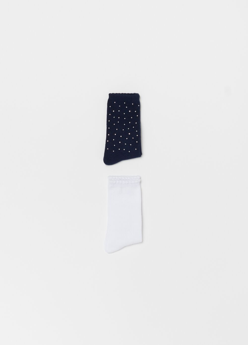 Two-pair pack short stretch socks with diamantés