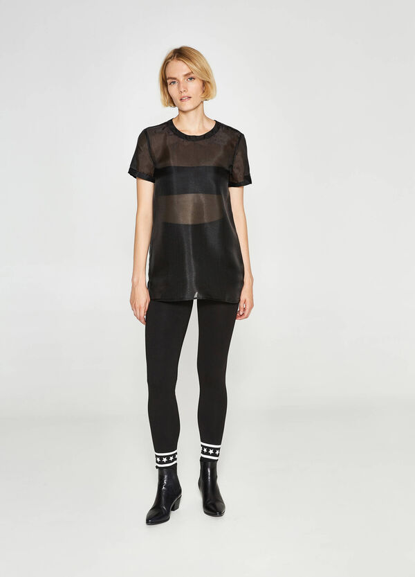 Semi-sheer T-shirt with round neck | OVS