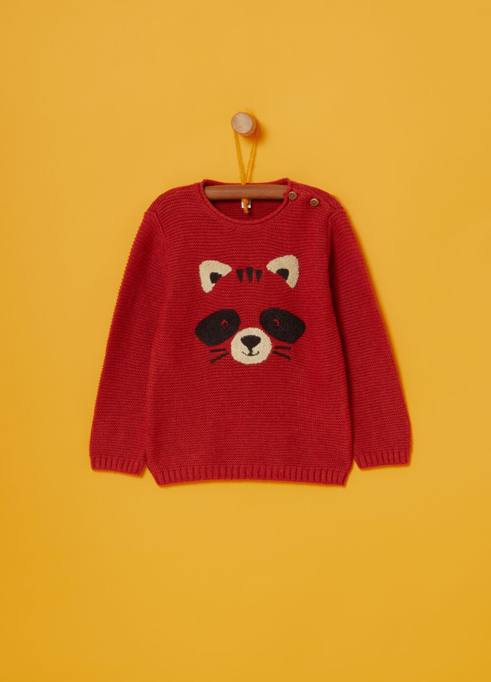 Knitted crew-neck jumper with working bear embroidery