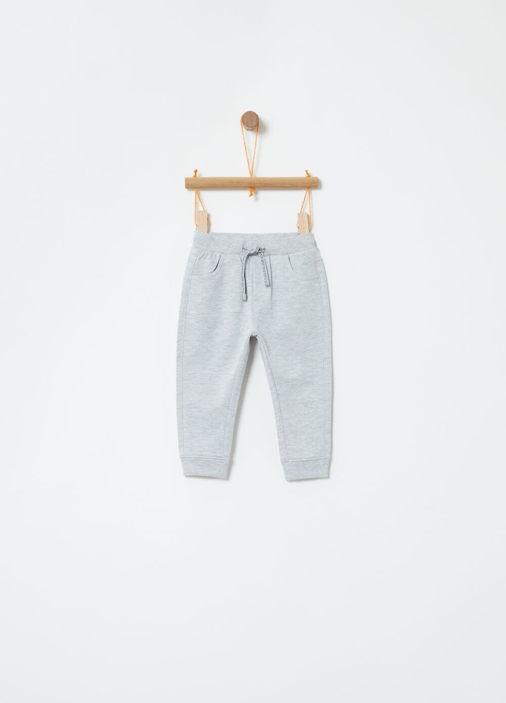 Mélange trousers with drawstring